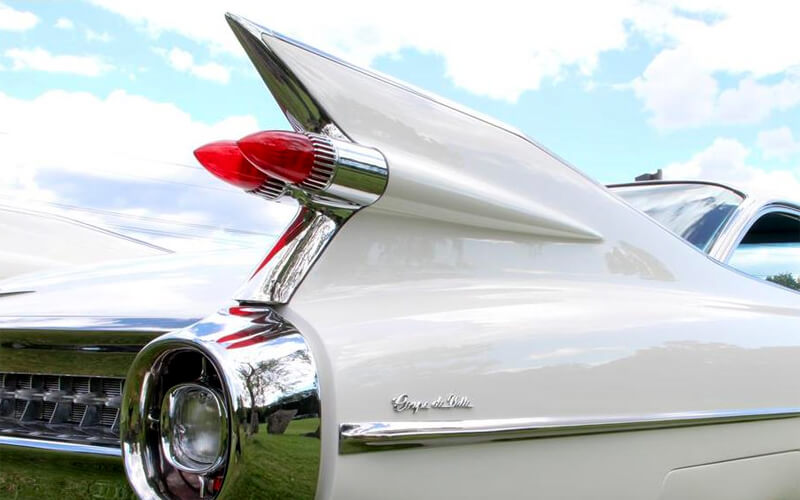The iconic tailfins and dual bullet taillights make the 1959 Cadillac instantly recognizable